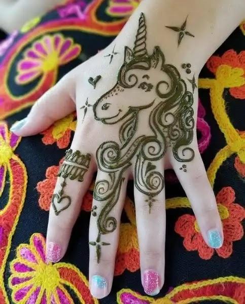 unicorn-flower-mehndi--design-for-kids
