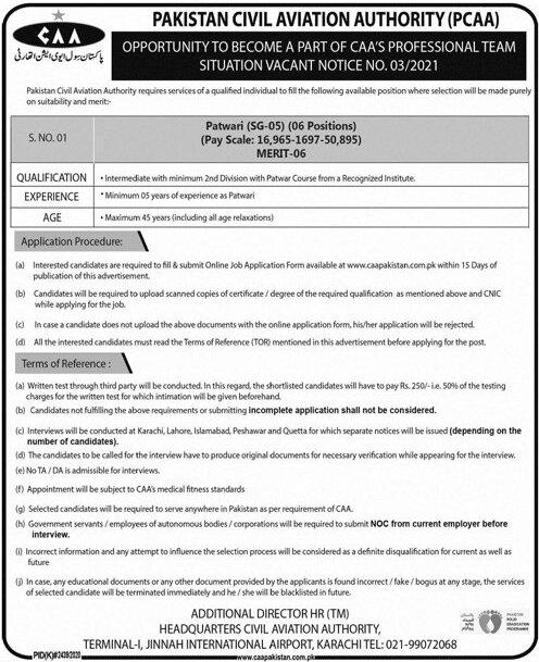Pakistan Civil Aviation Authority PCAA Job Advertisement 2021