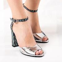 Sandale Piele Deidamia argintii cu toc gros • modlet