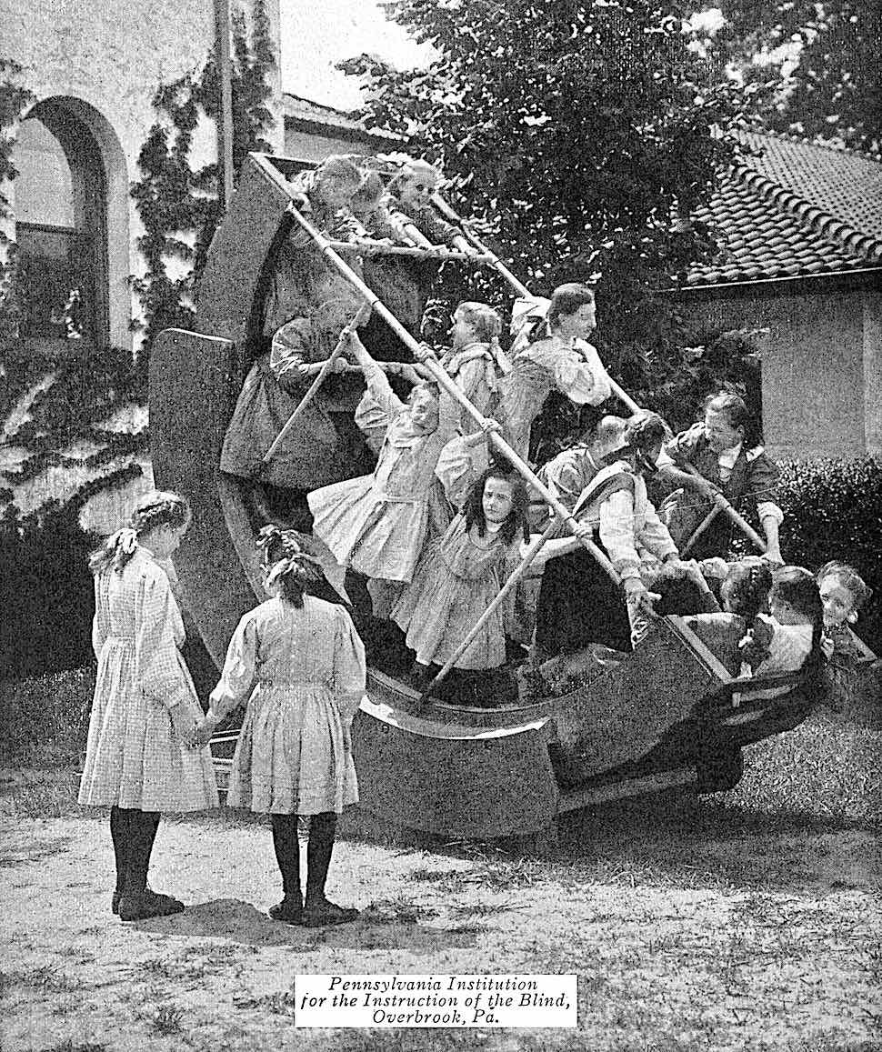 the 1912 Pennsylvania Institution for the Instruction of the Blind playground equipment, a photograph