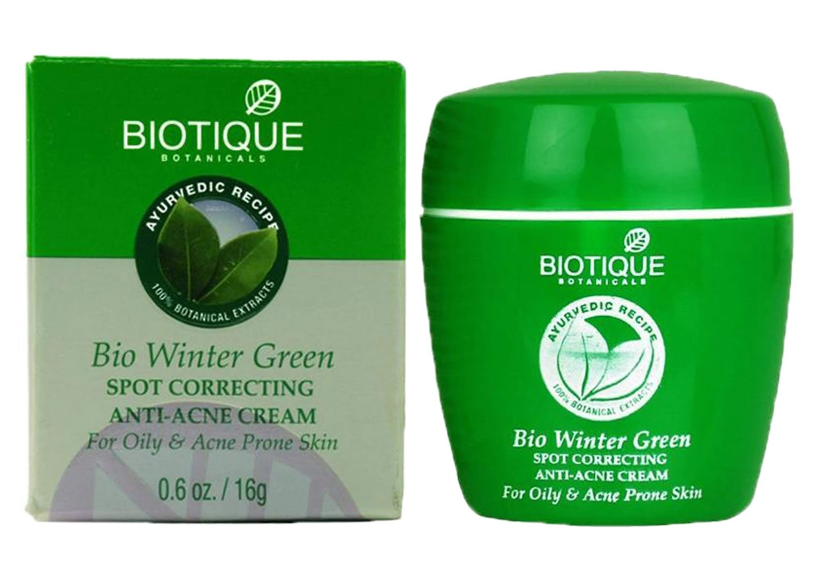Biotique Bio Winter Green Spot Correcting Anti Acne Cream 15g Skin Care Acne & Blemish Treatments