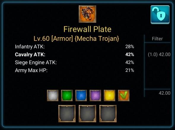 Item Firewall Plate pada Lords Mobile