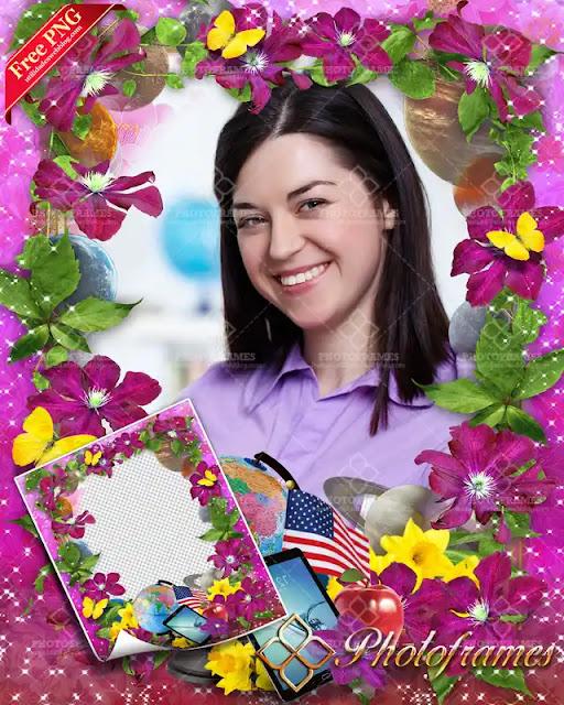 Marco floral color violeta para fotos del día del maestro