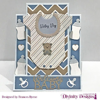 Stamp Set: Sweet Baby, Custom Dies:  Center Step A2 Card, Center Step A2 Card Layers, Baby Blessing, Circles, Scalloped Circles, Chevron Background, Paper Collection: Baby Boy