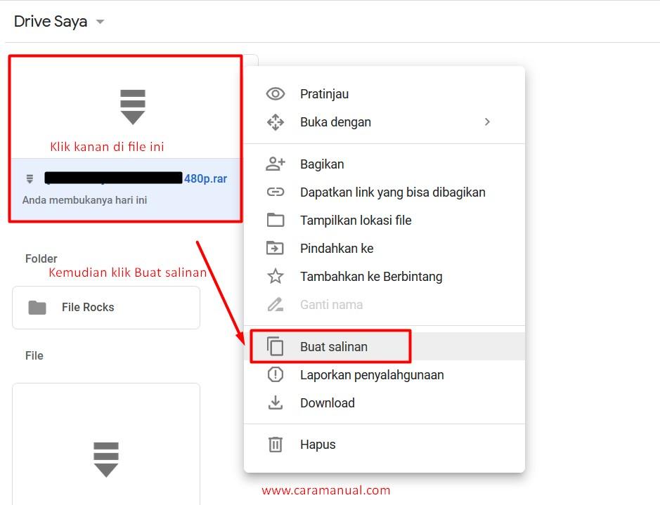 buat salinan file google drive