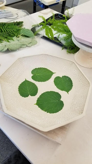 Beautiful leaf imprint ceramic platter in progress, pottery by Lily L.
