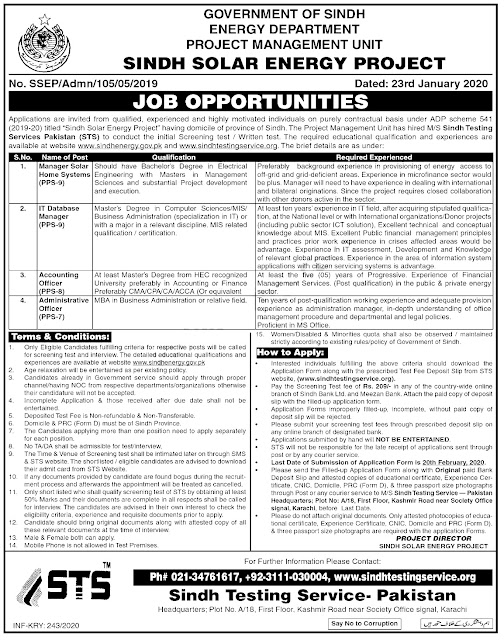 Government Jobs in Sindh Energy Department | Apply Now