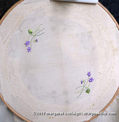 Society Silk Violets: first two motifs embroidered with antique silk floss