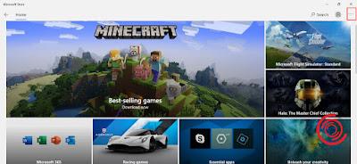 1. Silakan kalian buka aplikasi Microsoft Store lalu pilih Menu