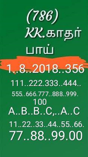 kerala lottery abc guessing akshaya AK-356 on 01-08-2018 by KK