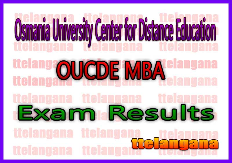 OUCDE MBA 1st Osmania University Center for Distance Education 1st Sem Exam Results