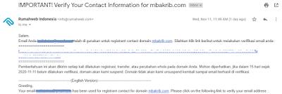 email verifikasi kontak domain