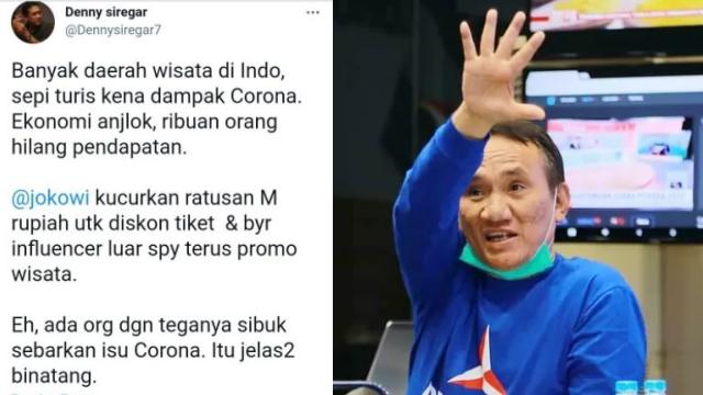 Ungkit Cuitan Denny Siregar Soal Covid-19, Andi Arief: Pembuat Twit Harus Dihukum Berapa?