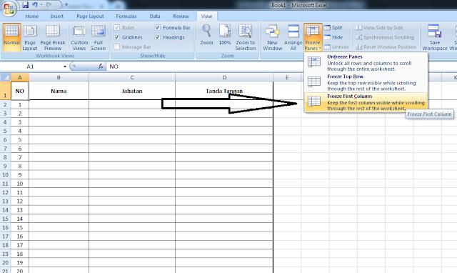 Cara Menggunakan Freeze Panes Pada Microsoft Excel, cara membuat freeze panes pada mz excel, panduan membuat freeze panes pada excel, freeze panes, kegunaan freeze panes