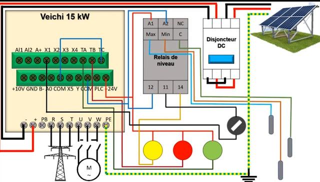 دائرة تشغيل مغير السرعة viechi للطاقة الشمسية.
