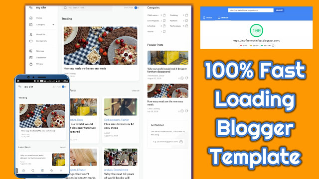 100% Fast Loading Blogger Template By First Tech Info