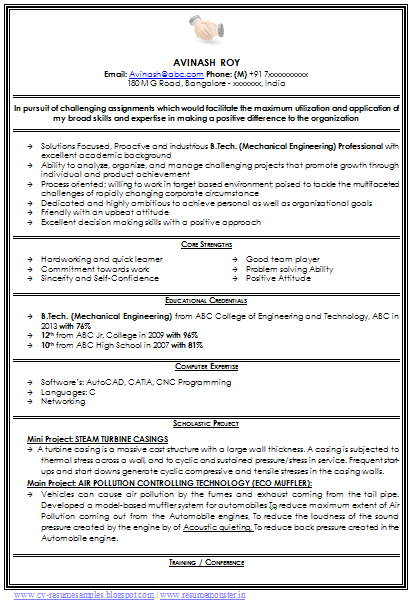 resume format for mechanical engineer fresher