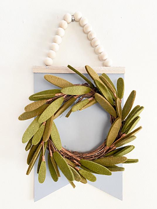 felted wreath on beaded hanger