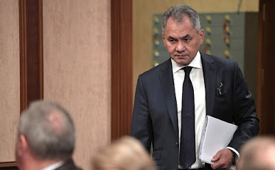Defense Minister of Russia Sergei Shoigu before the meeting of Military-Industrial Commission.