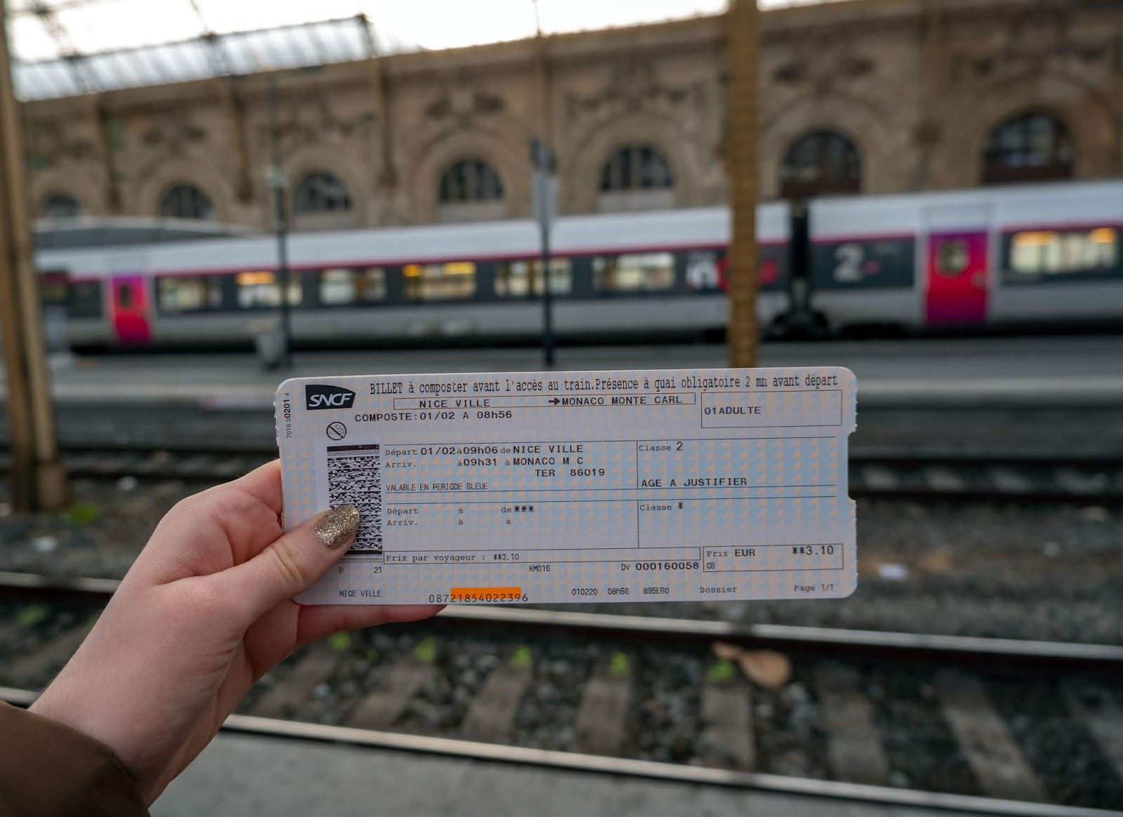 Nice to Monaco SNCF train ticket