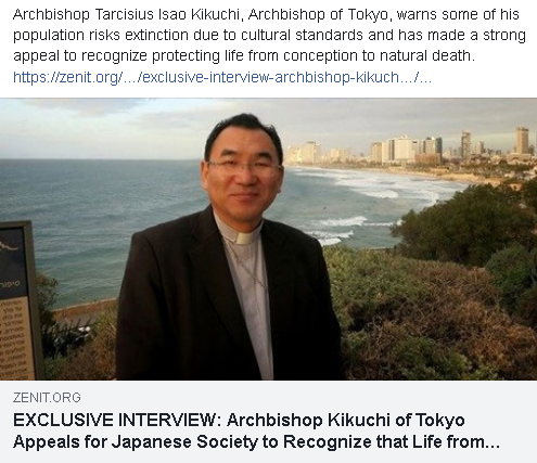 https://zenit.org/articles/exclusive-interview-archbishop-kikuchi-of-tokyo-appeals-for-japanese-society-to-recognize-that-life-from-conception-to-death-is-invaluable-from-papal-flight/?utm_medium=email&utm_campaign=EXCLUSIVE+INTERVIEW+Archbishop+of+Tokyo+Recognize+Value+of+Life+from+Conception+to+Death+from+Papal+Flight+1574446718+ZNP&utm_content=EXCLUSIVE+INTERVIEW+Archbishop+of+Tokyo+Recognize+Value+of+Life+from+Conception+to+Death+from+Papal+Flight+1574446718+ZNP+CID_f3b4e656cf5e65a061d567b955f26848&utm_source=Editions&utm_term=EXCLUSIVE+INTERVIEW+Archbishop+Kikuchi+of+Tokyo+Appeals+for+Japanese+Society+to+Recognize+that+Life+from+Conception+to+Death+Is+Invaluable+from+Papal+Flight&fbclid=IwAR23mEFETaTnUbES1L8WHbazlpdr2i3fx8fTReL5yujGkvejVTkMoXO0-mo