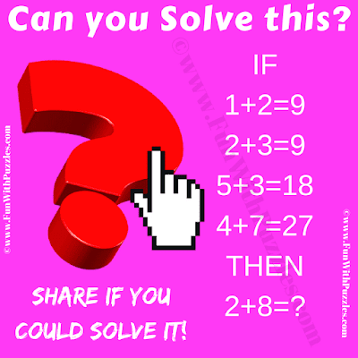 Can you solve this? If 1+2 = 9, 2+3 = 9, 5+3 = 18, 4+7 = 27 Then 2+8=?