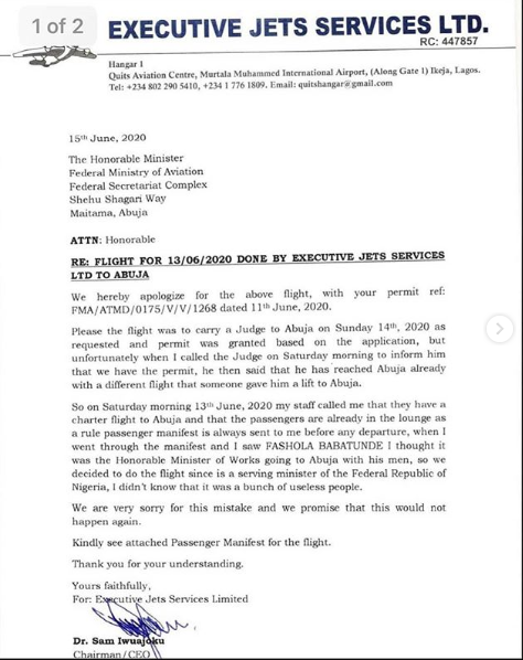 News: We Thought Our Passenger Was Babatunde Fashola, We Didn't Know They Were Useless People – Airline Owner