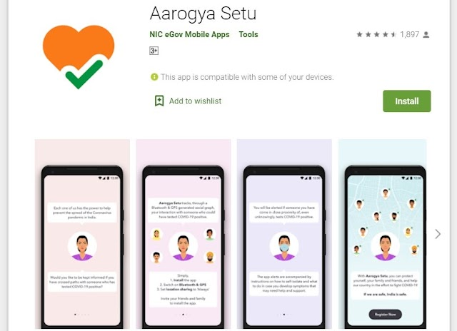 Aarogya Setu App - will help in protection from corona virus and gives notification when exposed to infected person.