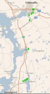 Karta över järnvägssträckningen med tunnlarna utmärkta.