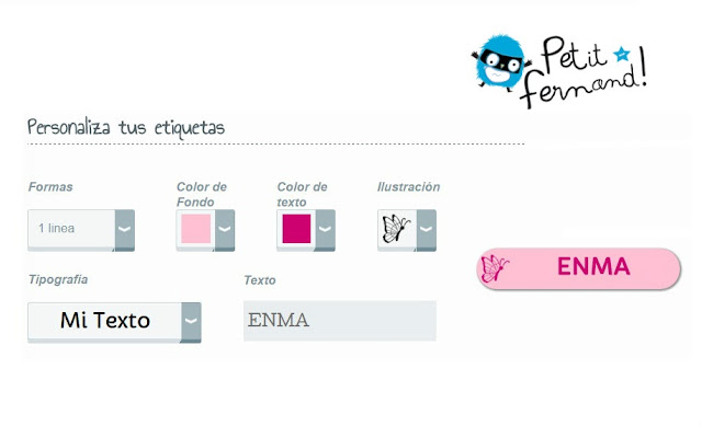 Personalización de etiquetas de Petit Fernand