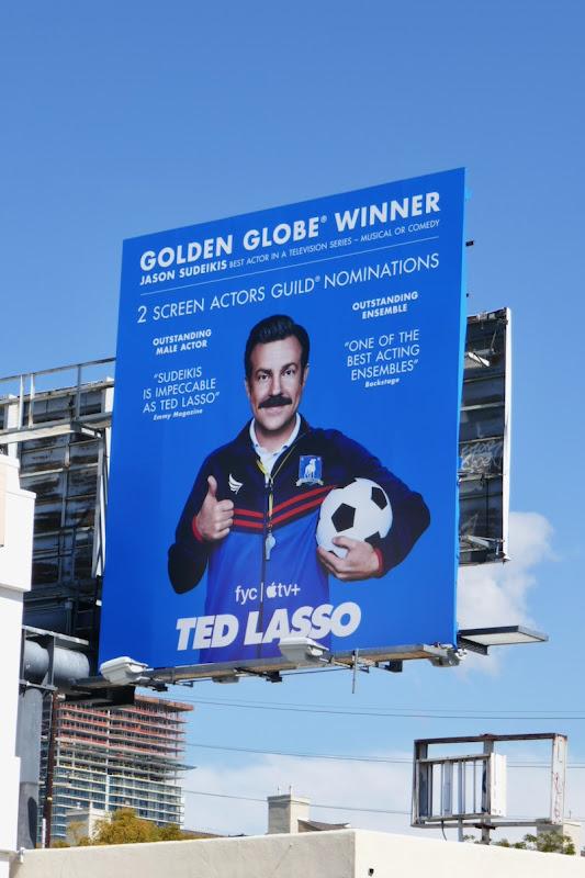 Ted Lasso Golden Globe winner billboard