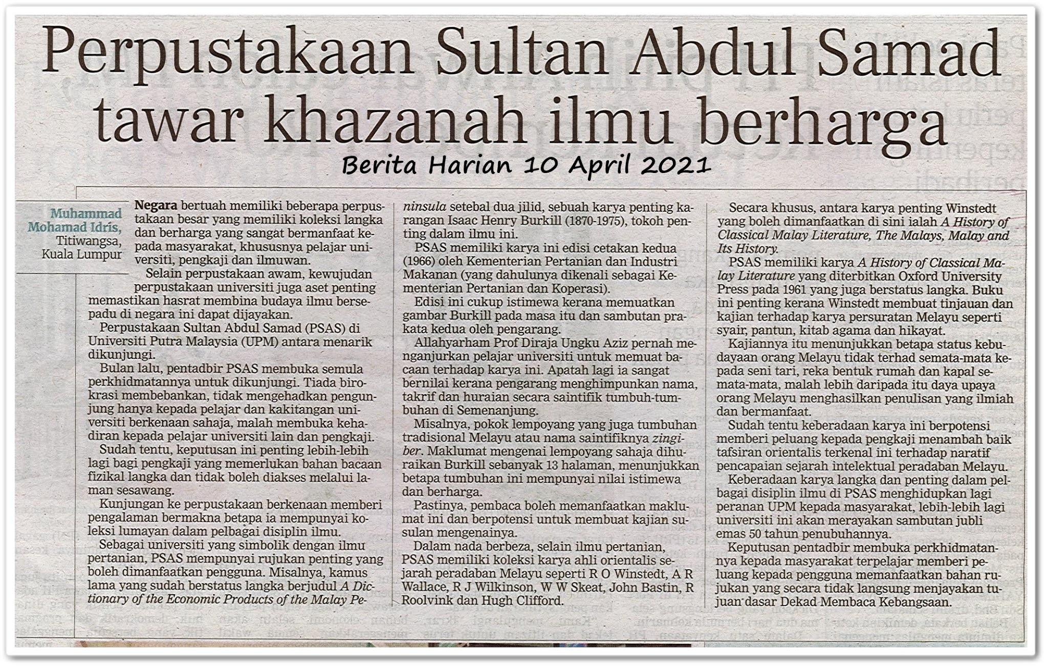 Perpustakaan Sultan Abdul Samad tawar khazanah ilmu berharga - Keratan akhbar Berita Harian 10 April 2021