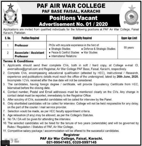 PAF Air War Karachi Jobs