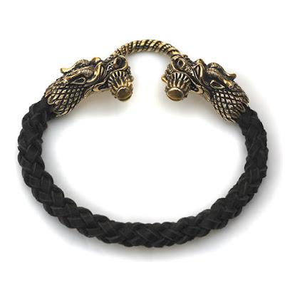 купить мужской браслет из кожи с головами дракона купить бижутерию оптом от производителя россия крым москва