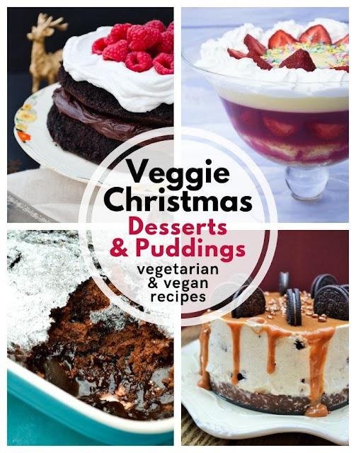 Veggie Christmas - Christmas vegetarian and vegan desserts #christmas #veggiechristmas #veganchristmas #christmaspuddings #christmasdesserts #christmascheesecake #christmascake #christmastrifle #vegetarianchristmas