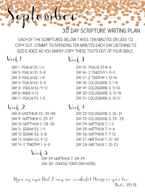 Sweet Blessings: September Scripture Writing Plan