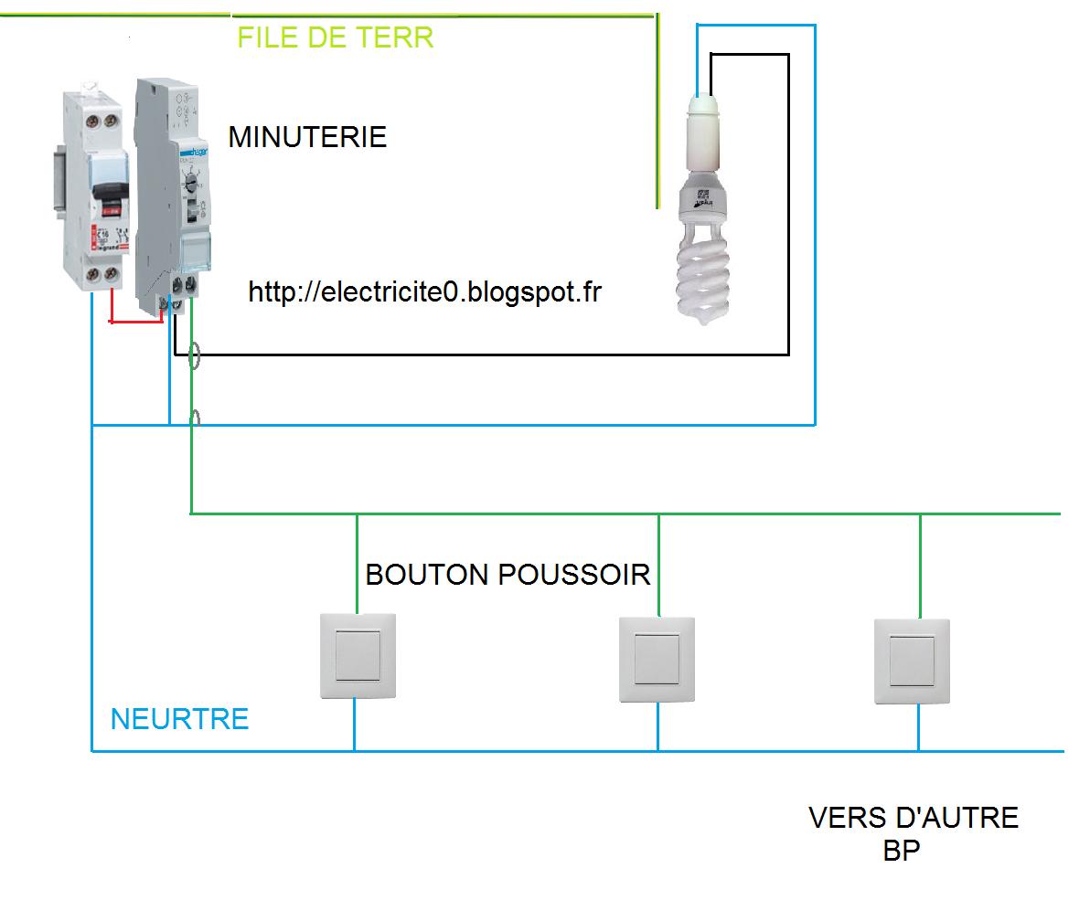 Electricit schema electrique minuterie branchement 3 fils for Branchement eclairage exterieur en serie