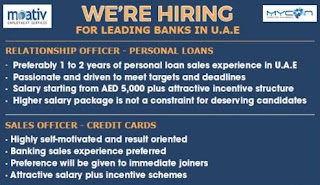 Recruitment For Relationship Officer & Sales Officer For A Leading Bank in Dubai, UAE | Walk In Interview