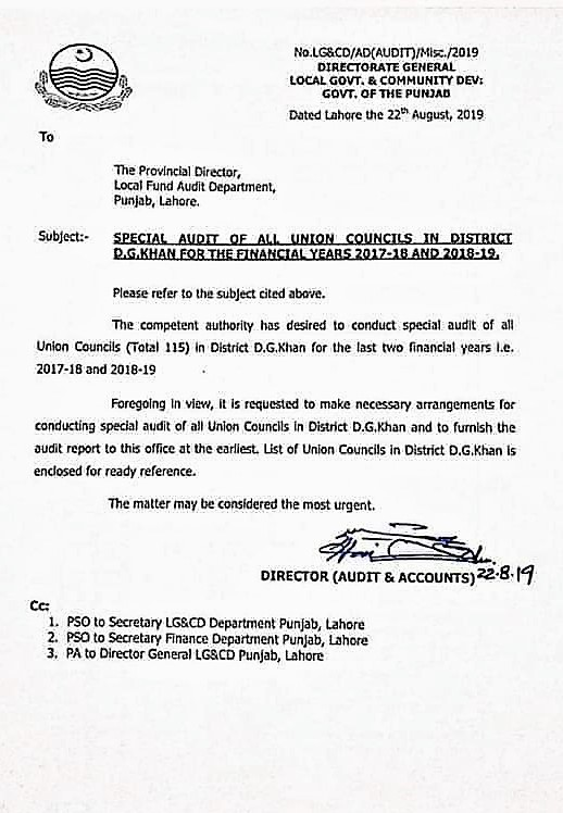 SPECIAL AUDIT OF ALL UNION COUNCILS OF DG KHAN FOR FY-2017-18 AND 2018-19