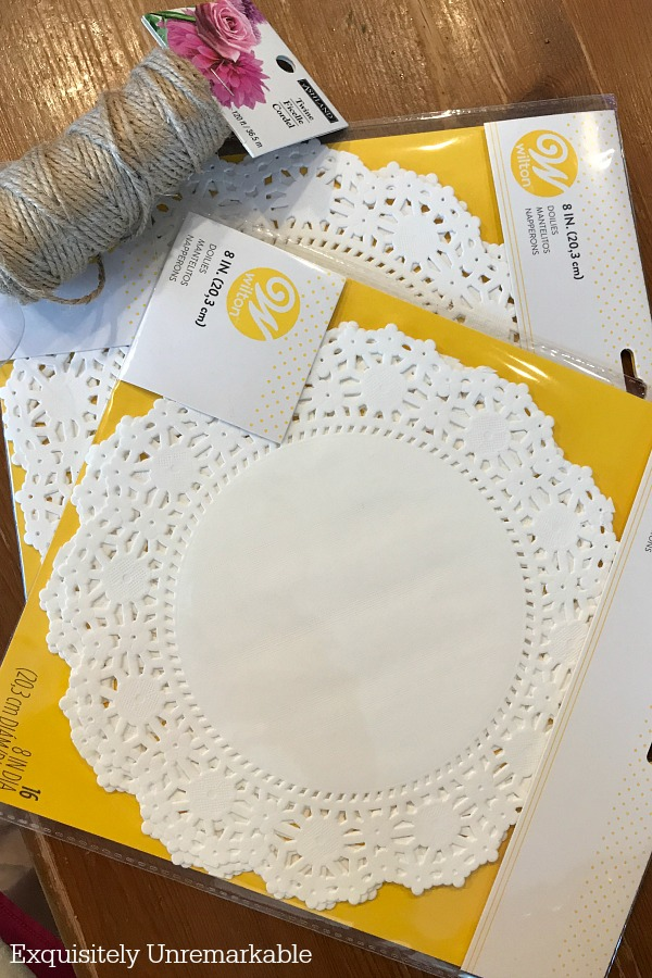 White doily packages and twine