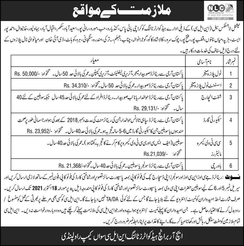 National Logistics Cell NLC Jobs 2021 for Toll Plaza Manager