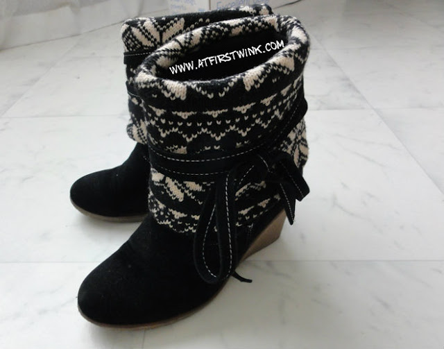 Winter boots with wool winter print