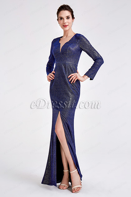 Blue V-Neck Shiny Long Sleeve Party Ball Dress