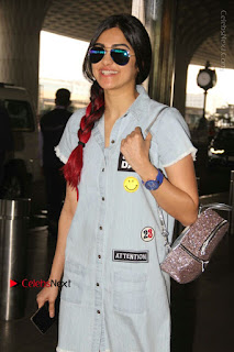 Bollywood Actress Model Adah Sharma Spotted at the Airport in a Denim Dress  0001.jpg