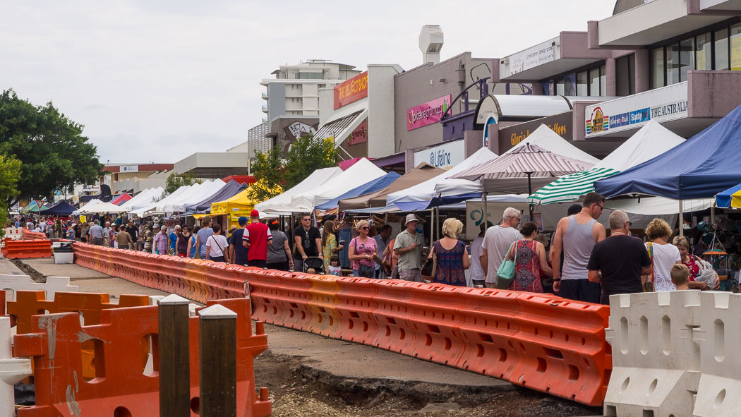 The Markets Bulcock Street Caloundra under reconstruction 2016