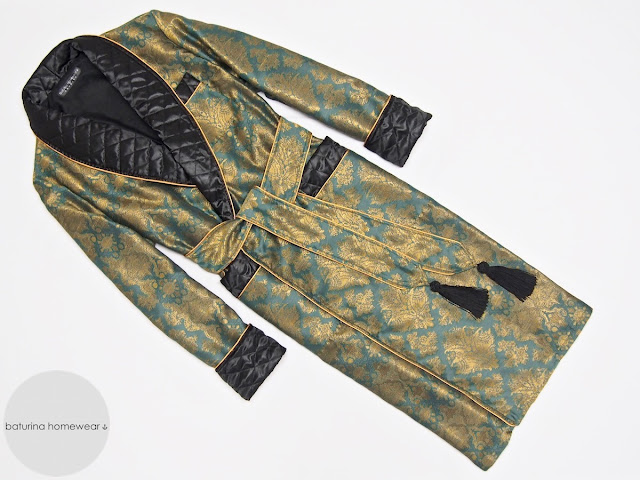 Men's silk paisley dressing gown robe smoking jacket quilted