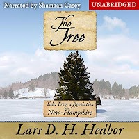 The Tree: Tales From a Revolution - New-Hampshire audiobook cover. A majestic pine tree stands alone in a snowy landscape, with a sign in the centre of the cover bearing the title.