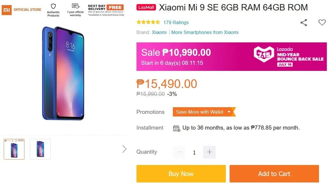Deal Alert: Xiaomi Mi 9 SE Will Be On Sale This July 15 for Only Php10,990 (Instead of Php15,990)