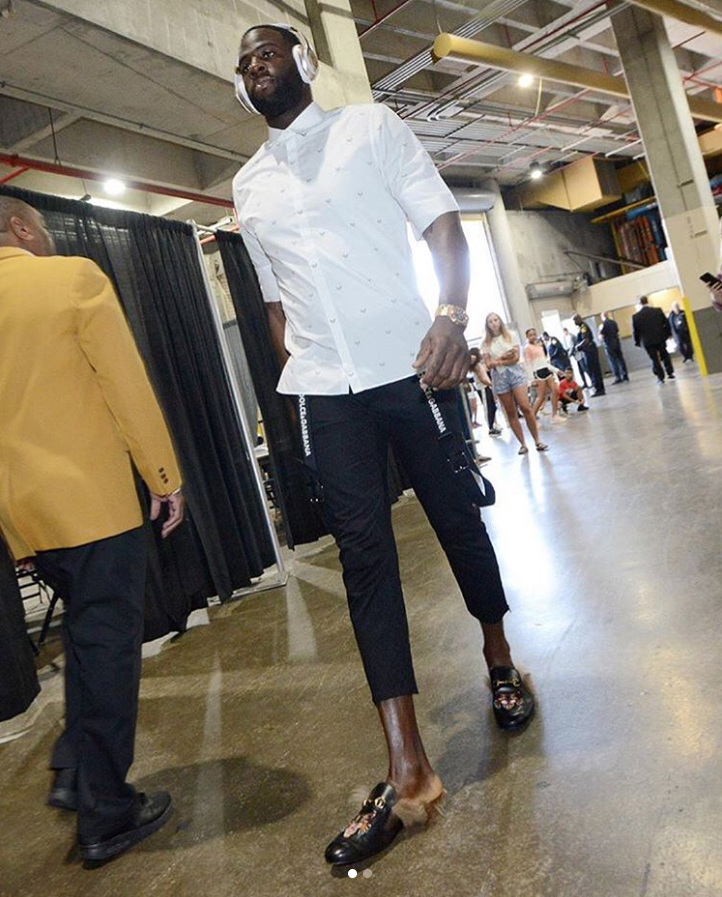 Draymond Green before NBA Playoffs game Golden State Warriors versus New Orleans Pellicans