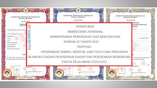 Juknis Penulisan Ijazah SD SMP SMK Tahun 2021